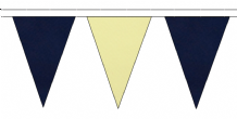 NAVY BLUE AND BEIGE TRIANGULAR BUNTING - 10m / 20m / 50m LENGTHS